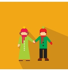 New girl and boy flat icon vector