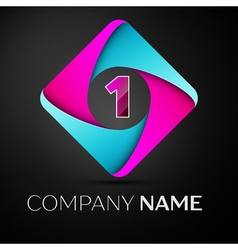 Number one logo symbol in the colorful rhombus vector