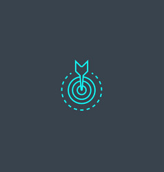objective concept blue line icon simple thin vector image