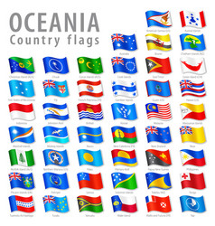 Oceanian national flag set vector