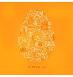 Orthodox Easter Line Icons Set Egg Shape vector image