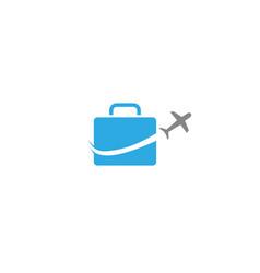 Plane take off around a big bag business travel vector