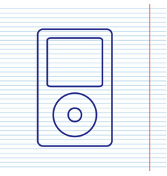 Portable music device navy line icon on vector