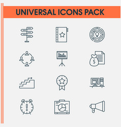 project icons set with teamwork and meeting vector image