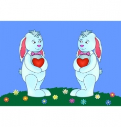 rabbits with hearts vector image