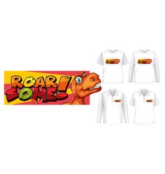 roar some font and dinosaur cartoon character vector image
