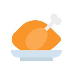 Roast chicken flat icon gastronomy set vector