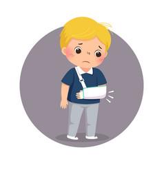 Sad boy looking at his broken arm in cast vector