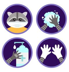 safety measures against coronavirus cute raccoon vector image