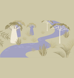 Savannah landscape with river and rare trees vector