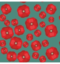 seamless pattern with red poppies on color vector image