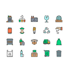 set garbage flat color line icons waste vector image