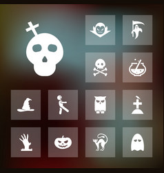 Set of halloween icons simple scary elements vector