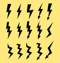 set of icons representing lightning bolt vector image