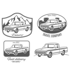 set of logos with pickup truck vector image