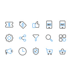Set online shopping line icons vector