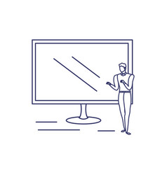 silhouette man with computer screen in white vector image
