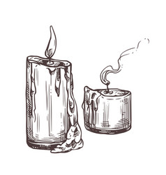 sketch candles with fire and smoke vector image