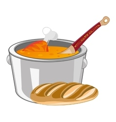 Soup in saucepan vector