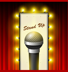 stand up comedy show - microphone and retro movie vector image