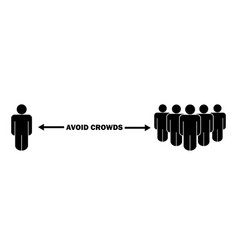 Stick figure avoid crowd social distancing during vector