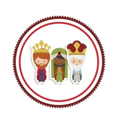 sticker border with the three wise men cartoon vector image