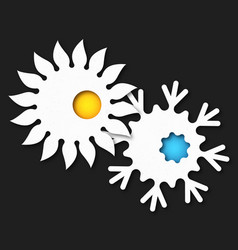 sun and snowflake symbol vector image