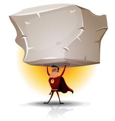 Superhero holding heavy big boulder vector