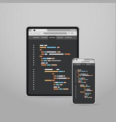 tablet and smartphone screns cross platform vector image