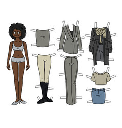 The afroamerican paper doll vector
