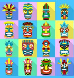Tiki idols icons set flat style vector