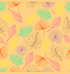 tropical palm leaf seamless pattern peach colour vector image