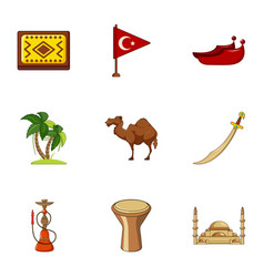 Turkey things icons set cartoon style vector