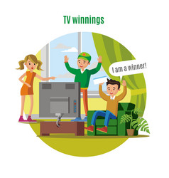 tv lottery win concept vector image
