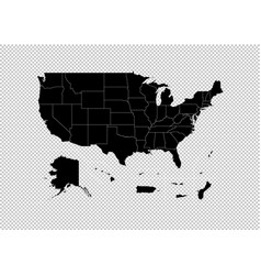usa territories map - high detailed black map vector image