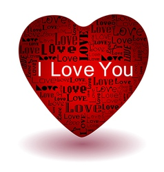 valentines day-Love text in red heart vector image