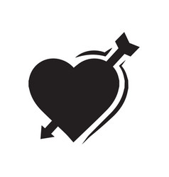 Valentines heart arrow black icon vector