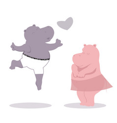 Valentines with two hippos and heart vector