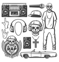Vintage rap music elements collection vector