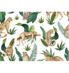 watercolor seamless pattern tropical vector image