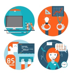 web studio workplace concept and web page vector image