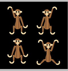 wooden monkeys vector image