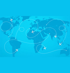 world map with aircraft paths vector image