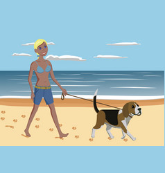 young woman and dog walking on the beach vector image