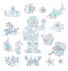 Deep Underwater diving vector image