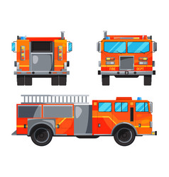 different sides of fire truck specific vector image vector image