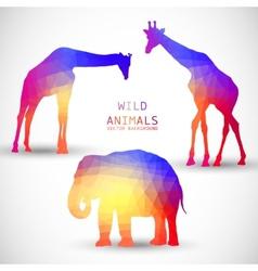 Geometric silhouettes animals Elephant Giraffe vector image