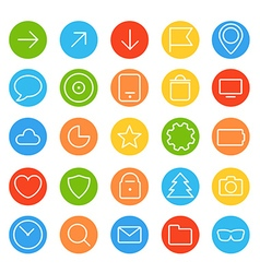 Modern thin color web icons collection vector