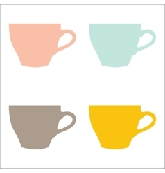 set of color cups on white background vector image vector image