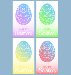 set of colored easter eggs with floral ornament vector image vector image